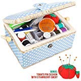 Medium Sewing Basket Organizer with Complete Sewing Kit Accessories Included, Wooden Sewing Box Kit...