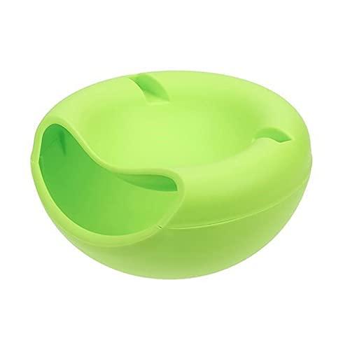 YUQINT Platos para alimentos forma creativa Lazy Snack Bowl plástico de doble capa caja de almacenamiento de aperitivos tazón de fuente de fruta perezoso plato artefacto placa (color: 03)