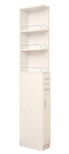 山善 洗面所 収納 幅14.5×奥行39×高さ180cm こぼれ止め付き 棚板高さ調節可能 隙間収納 大容量 組立品 ホワイト SSR-1815(WH)
