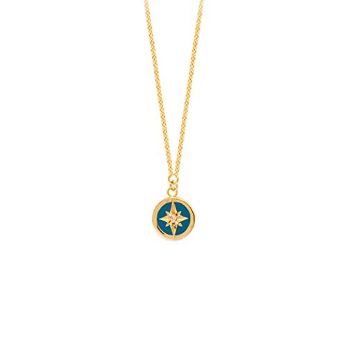 Colgante de oro amarillo de 14 quilates con diamante de 0,015 dwt imitación turquesa esmalte N. Star medalla – 46 centímetros
