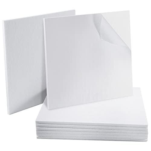 Pannelli acustici bianchi Woiworco Pannello insonorizzante, 8 pezzi 30 x 30 x 0,9 cm Pannelli fonoassorbenti Imbottitura acustica per trattamento acustico e decorazione