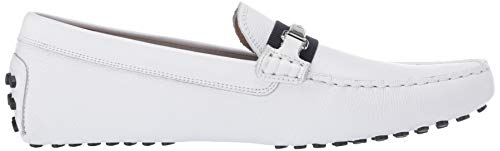 Lacoste Men's Ansted Driving Style Loafer, Deep White/Navy, 10 Medium US