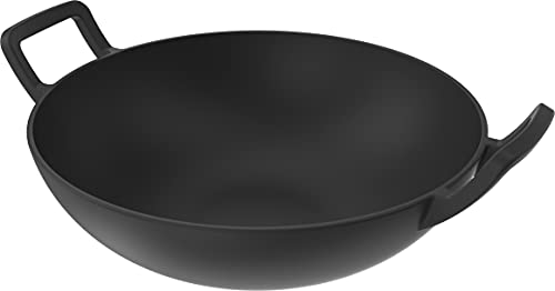 Nexgrill Gusseisen Wok I gusseiserne Wokpfanne für Gasgrill I Wok-Topf für Grill ø 30 cm I ProTouch Grillzubehör & BBQ