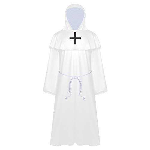 Disfraz de Halloween para nios, disfraz de la muerte, capa con capucha, juego de rol aterrador, capa larga, para fiestas de cosplay, color blanco, 130