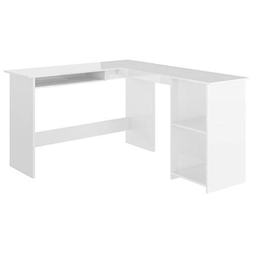 vidaXL Eckschreibtisch in L-Form Computertisch Schreibtisch Bürotisch PC Tisch Winkelschreibtisch Arbeitstisch Hochglanz-Weiß 120x140x75cm Spanplatte