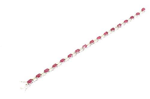 Pulsera de plata de ley 925 con piedra ovalada de rubí rojo natural de 7 pies de PH