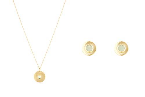Córdoba Jewels | Conjunto de Gargantilla y Pendientes en Plata de Ley 925 bañada en Oro con Piedra semipreciosa con diseño Circle Dolce Jde Gold