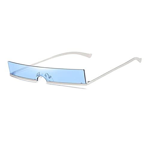 FDNFG Mujeres Moda Gafas de Sol Designer de Lujo Clear Rectangle Lente Personalidad Gafas de Sol Trasas Mujer Eyewear UV400 Gafas de Sol (Lenses Color : Silver and Blue)