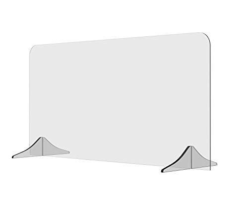 Solarplexius Trennwand Hustenschutz Niesschutz Virenschutz für Schreibtisch und Büro Thekenaufsatz Tischaufsatz Tresenaufsatz Antibakteriell Transparent Acrylglas(120 x 60 cm)