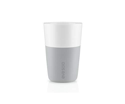 EVA SOLO 501046 Latte-Becher, 2-teilig, Silikonschale, 360 ml, Porzellan, Marble Grau, 8,5 x 8,5 x 12,5 cm