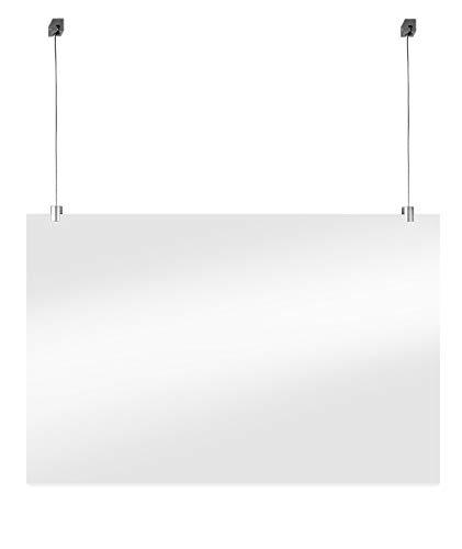 Beschermend Hangend Plexiglas Scherm Incl. Ophangset voor Normaal Plafond Tegen Niezen en Kuchen voor Toonbank, Receptie of Balie (75x100cm)