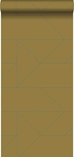 behang grafische lijnen okergeel - 347723 - van Origin - luxury wallcoverings