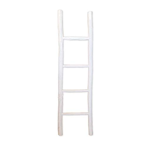 Fifth + Nest Blanket Ladder White Shelf Rustic Farmhouse Home Decor Wooden 5 Foot to Display Blankets, Quilts, Towels and Linens