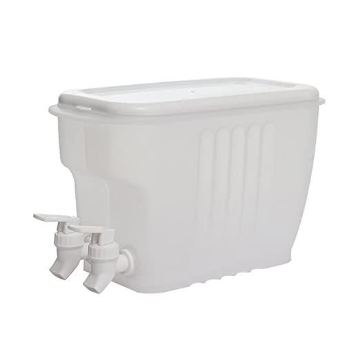 Jarra de agua de plástico de 3,5 L, jarra de bebida, jarra de zumo con tapa y doble grifo, para bebidas calientes, frías, té, bebidas y leche, transparente, 28 x 17 x 10 cm