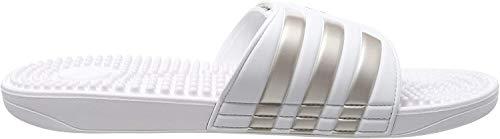 adidas Adissage, Unisex-Erwachsene Dusch- & Badeschuhe, Weiß (Footwear White/Platin Metallic/Footwear White 0), 44.5 EU (10 UK)