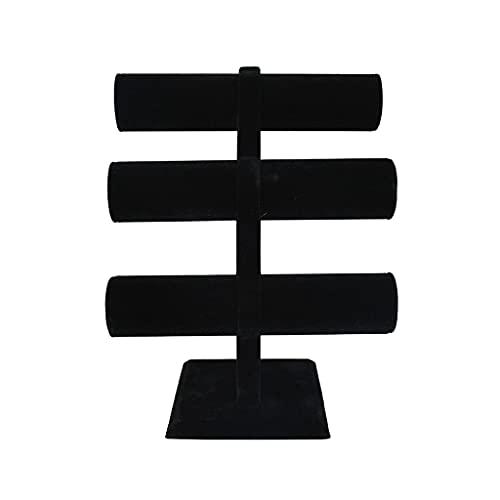 Soporte De Exhibición De Joyería, Soporte De Organizador De Joyería De Collar De Pulsera De Franela Arqueada De 3 Capas, Estante De Exhibición De Reloj De Ventana De Tienda De Hogar (Color : Black)