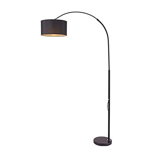 FREETT Stehlampe Dimmbar Fernbedienung, Bogenlampe mit Stehleuchte Marmorfuß und Textilschirm lampenschirm, Standleuchte für Wohnzimmer, Schlafzimmer, Arbeitszimmer, Büro,Schwarz