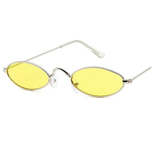 IRCATH Gafas de Sol clásicas ovaladas para Hombres y Mujeres Marco de Metal Moda Redonda de Las señoras UV400 Adecuado para Golf, Ciclismo, Gafas de Sol de Pesca-C7 Adecuado para Conducir en la Playa