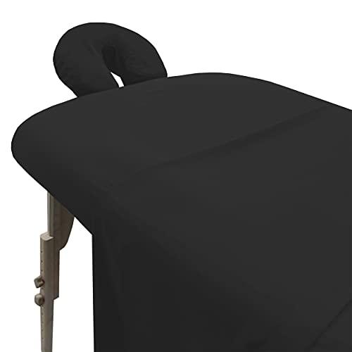 London Linens Soft Microfiber Massage Table Sheets Set 3 Piece Set - Includes Massage Table Cover, Massage Fitted Sheet, and Massage Face Rest Cover (Exotic Black)