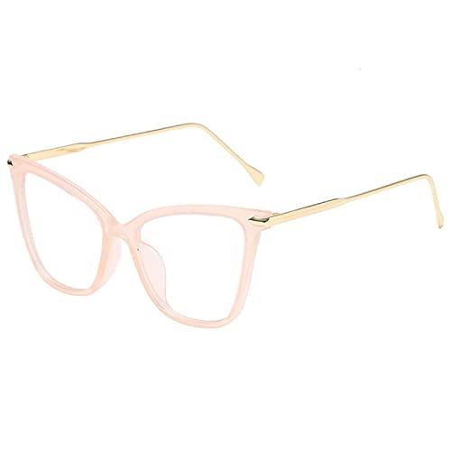 Gafas De Sol Gafas Transparentes con Montura De Gafas De Ojo De Gato para Mujeres Y Hombres, Anteojos Ópticos Transparentes, Gafas para Ordenador, Rosa