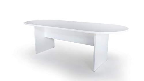 Euromof Mesa de Juntas Ovalada. 200x90 cm. Color Blanco.