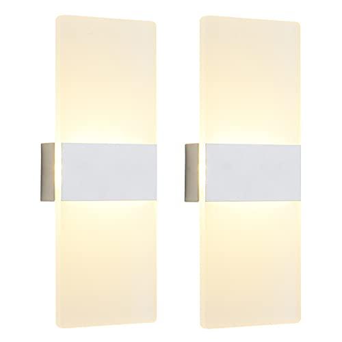 VOMI 2 Pack LED Akku Wandleuchte Mit Schalter Berühren Dimmbar Wandlampe Tragbar Magnetische Nachtlicht USB Wiederaufladbar Intelligent Leselicht Kabellos 2.8 W für Flur Schlafzimmer Weiß,Warm light