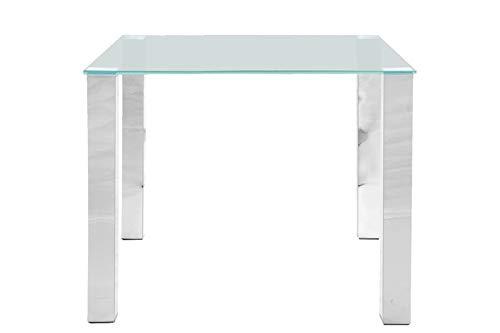 Kante Mesa de comedor cuadrada de cristal transparente, patas cromadas, 90 x 90 cm