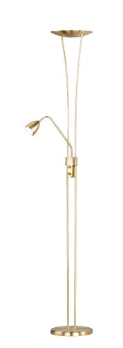 Trio Leuchten LED-Fluter in Messing matt, inklusive 1 x 20W LED und 1 x 5W LED, Fluter und Lesearm getrennt dimmbar, Höhe - 180 cm 426410208