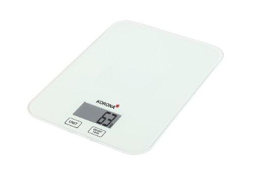 Korona 70213 Küchenwaage Kira weiss 1 gr – Digitalwaage aus Glas – elektronische Haushaltswaage zum Backen und Kochen