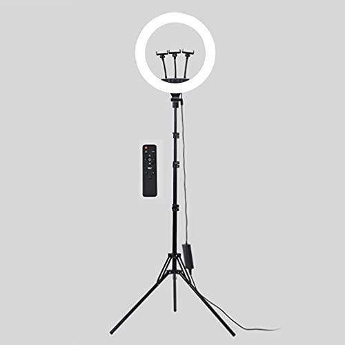 2 Piezas Anillo de Luz para Selfies de 18 ' con Soporte para Trípode, 3 Soporte para Teléfono Móvil, 2 Interfaces de Carga USB para Teléfono, con Mando a Distancia, para TikTok ( Color : Round shape )