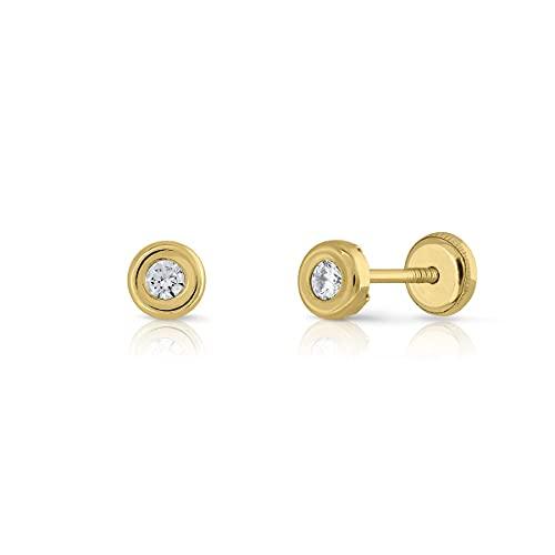 Pendientes Oro de Ley Certificado. redondo bicelado. Niña/Mujer. circón 2.5 mm cierre de rosca de seguridad (1-3384-2.5)