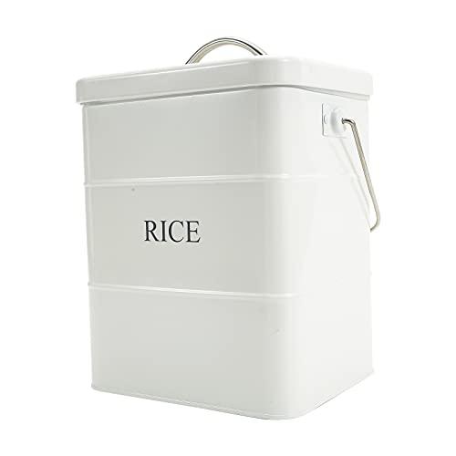 Recipiente de arroz con tapa y asa, para almacenamiento de alimentos sellados, para cocina, encimera, organizador para arroz, harina de soja, granos de cereales, color blanco