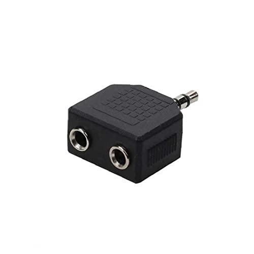 LAANCOO Adaptador de Enchufe Divisor de Audio de 3,5 mm de 3 Polos del Enchufe Masculino estéreo de Doble Femenino del Adaptador de Audio del Auricular