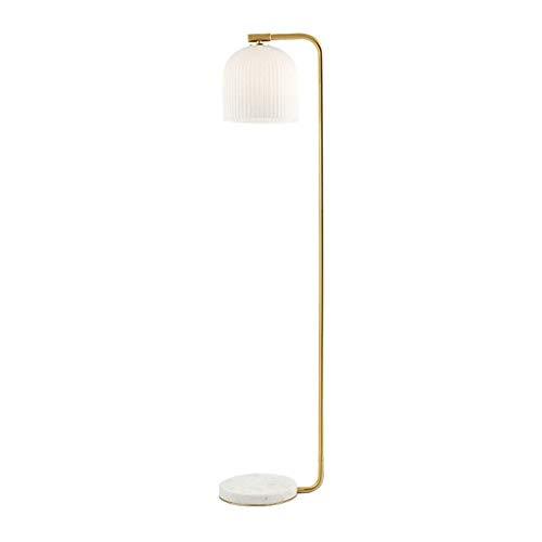 FWZJ Lámpara de pie lámpara estándar Lámpara de pie Moderna y Simple Lámpara de Lectura de Estudio Sala de Estar Dormitorio Pantalla de Cristal Lámpara de pie con Base de mármol Lámparas de pie c