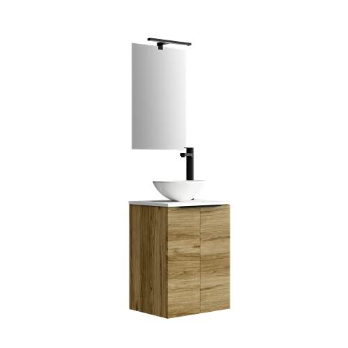 Baikal 280034374, Mueble de baño pequeño con Lavabo cerámico y Espejo con Aplique de luz LED, CS, Acabado en Color Teka, de fácil montado, Medidas: 45 x 60 x 36cm ✅
