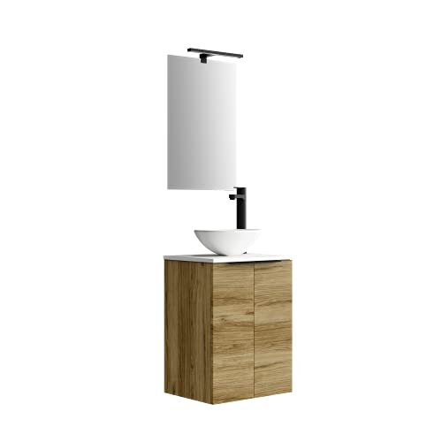 Baikal 280034374, Mueble de baño pequeño con Lavabo cerámico y Espejo con Aplique de luz LED, CS, Acabado en Color Teka, de fácil montado, Medidas: 45 x 60 x 36cm