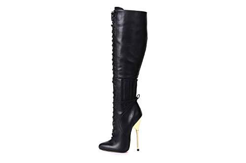 GIARO Brainbuster Black Matte Stiefel in Übergrößen Schwarz große Damenschuhe, Größe:46