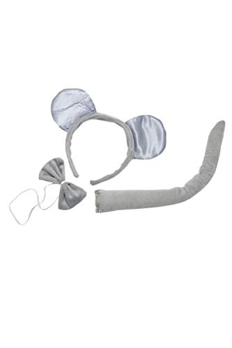 PTIT CLOWN 19920 Maus Satz – Haarreif, Schwanz und Fliege,2400 W, Grau