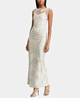 RALPH LAUREN Womens Silver Floral Embroidered Gown Sleeveless Illusion Neckline Maxi Formal Dress US Size: 10