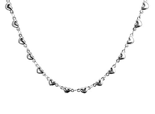 Ohana - Collar de mujer de acero inoxidable con corazones abombados, Acero inoxidable,
