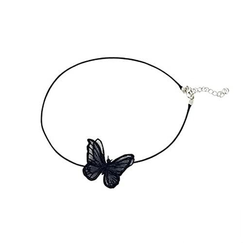 Nuevo diseño europeo y americano sexy brazalete de bebé cadena de clavícula encanto de mujer encaje blanco / negro coreano con collar de mariposas