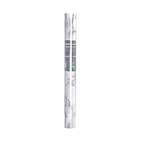 Papel tapiz de mármol autoadhesivo Película de vinilo de PVC impermeable Papel tapiz de plástico con respaldo adhesivo de mármol - Blanco Gris 100CM * 40CM