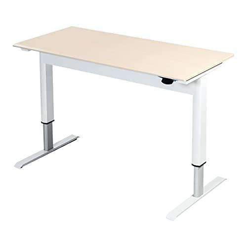 Stand Up Desk Store Pneumatic Adjustable Height Standing Desk Computer Workstation (White Frame/Birch Top, 48
