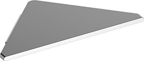 KEUCO Eck-Duschablage aus Aluminium, silber eloxiert, verdeckte Befestigung, 24,5x24,5x1,7cm, Wandmontage in der Dusche, Duschregal, Edition 400