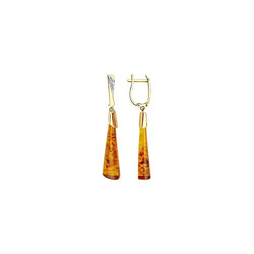 BEM Joyas: pendientes de oro rojo 585 con ámbar y circonitas.