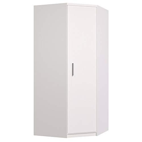 E-MEUBLES Armoire d'angle à Portes pivotantes, Tringle et étagères, 1 Porte Blanc Mat (LxHxP): 96/96x210x64 Delta