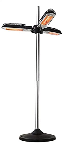 ZHENGRUI Calentador de Espacio Infrarrojo Eléctrico Plegable Calentador de Sombrilla de Patio Al Aire Libre Calentador de Patio con 3 Paneles Calefactores para Pérgola Parasol de Gazabo,2000W