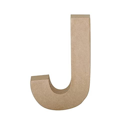 Papier Mache Letter J, Brown