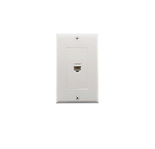 1 Port Cat6 Wall Plate and Keystone,Yomyrayhu,RJ45 Jack Ethernet Connector,Female to Female,White