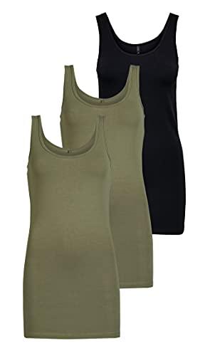 ONLY Onllive Love Noos - Camiseta de tirantes para mujer, Verde (2 Dusty Olive/ 1 Black), XS